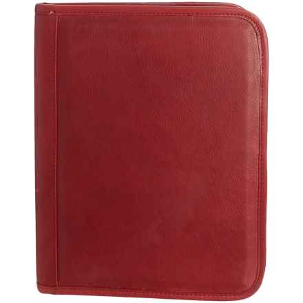 "Will Leather Goods Signature Leather Padfolio Binder - 12.75x10"" in Red - Closeouts"