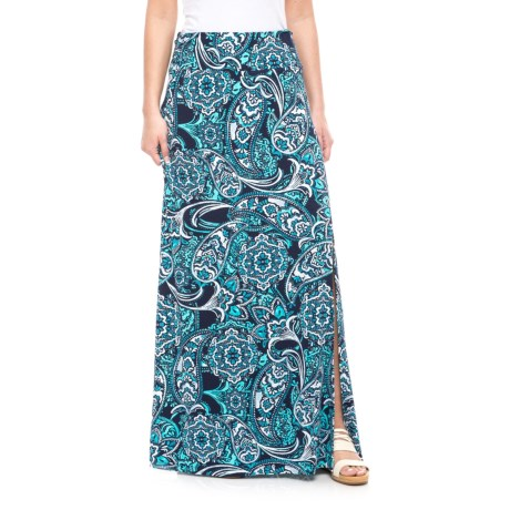 Willi Smith Ruched Waist Maxi Skirt (For Women) in Navy Combo