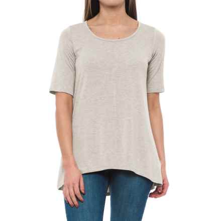 Willi Smith Scoop Neck Shirt - Elbow Sleeve (For Women) in Ivory Heather - Closeouts