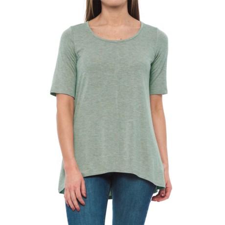 Willi Smith Scoop Neck Shirt - Elbow Sleeve (For Women) in Seafoam Heather