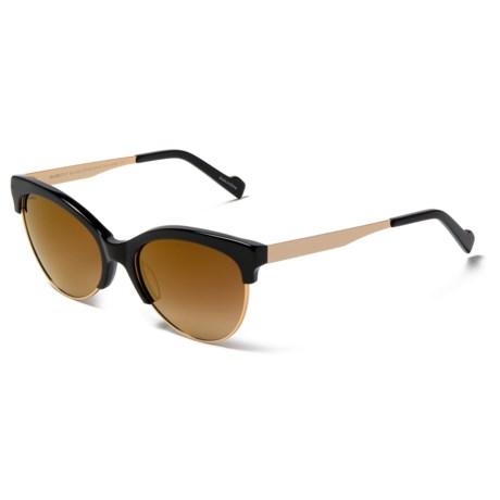 William Rast Half Rimmed Sunglasses - Polarized in 01G Shiny Black/Gold Flash
