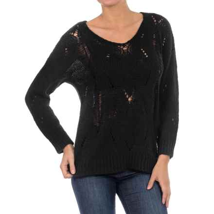 William Rast Open Knit Sweater (For Women) in Black - Closeouts