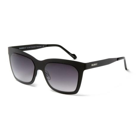 William Rast Rectangular Rimmed Sunglasses (For Women) in Satin Black/Gradient Smoke