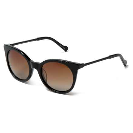 William Rast Rounded Lens Sunglasses - Polarized in 01F Shiny Black/Gradient Brown - Closeouts