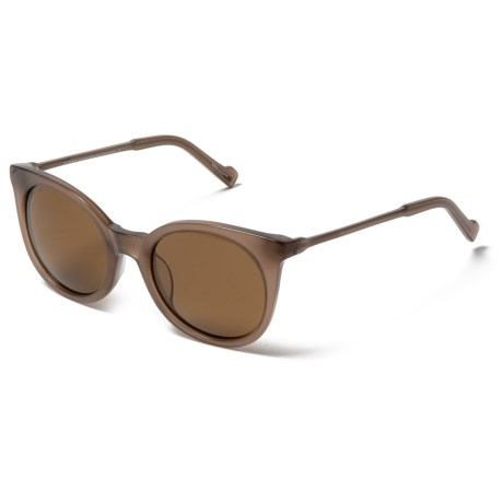 William Rast Rounded Lens Sunglasses - Polarized in 57E Smoky Taupe/Brown
