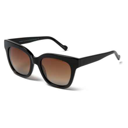 William Rast Thick Frame Sunglasses - Polarized in 01F Shiny Black/Gradient Brown - Closeouts