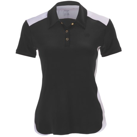 Wilson Polo Shirt - UPF 30+, Short Sleeve (For Women) in Black/White