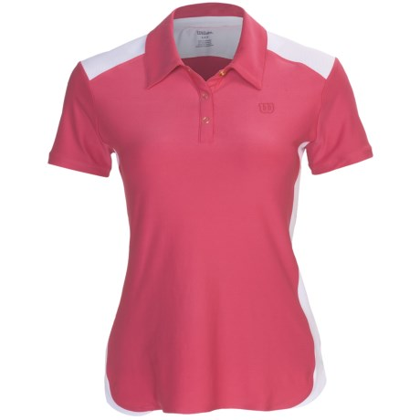 Wilson Polo Shirt - UPF 30+, Short Sleeve (For Women) in Pink/White
