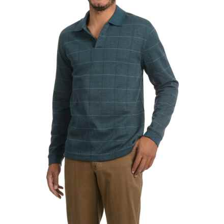 Windowpane Polo Shirt - Long Sleeve (For Men) in Blue Green Heather - 2nds