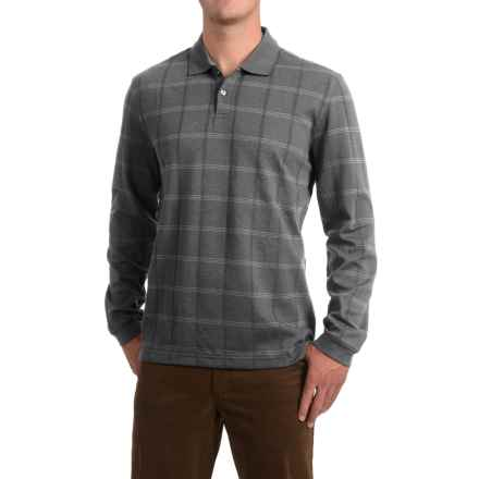 Windowpane Polo Shirt - Long Sleeve (For Men) in Grey Heather - 2nds