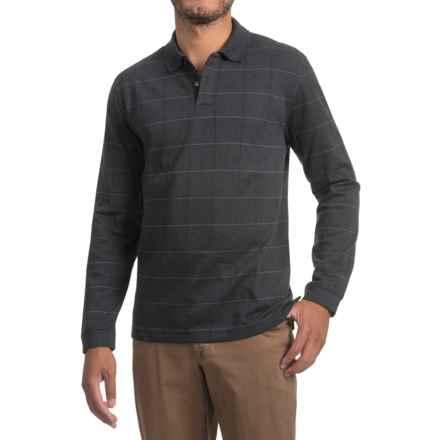 Windowpane Polo Shirt - Long Sleeve (For Men) in Gunmetal Heather - 2nds