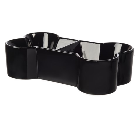 Winifred & Lily Divided Dog Bone Bowl - Small in Black