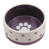 "Winifred & Lily Small Paw Ceramic Dog Dish - 7"", Rubber Bottom"