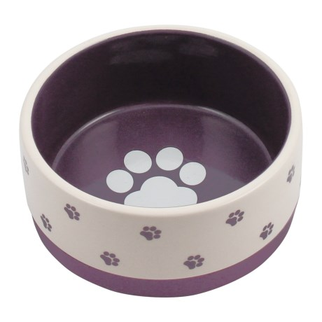 """Winifred & Lily Small Paw Ceramic Dog Dish - 7"""", Rubber Bottom in Plum"""
