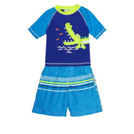Wippette Alligator Rash Guard and Swim Trunks Set - UPF 50, Short Sleeve (For Toddler Boys) in Royal Blue - Closeouts