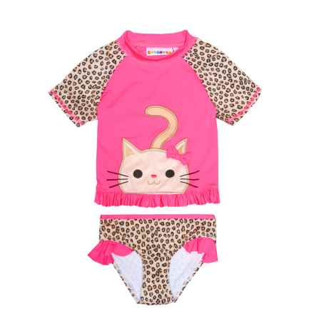 Wippette Cat Rash Guard and Brief Set - UPF 50, Short Sleeve (For Toddler Girls) in Knockout Pink - Closeouts