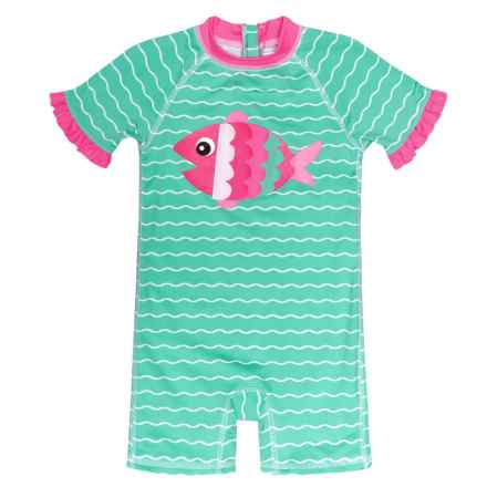 Wippette Fish Baby One-Piece Swimsuit - UPF 50+, Short Sleeve (For Infant Girls) in Seafoam - Closeouts