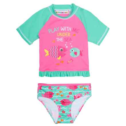 Wippette Fish Rash Guard and Brief Set - UPF 50, Short Sleeve (For Toddler Girls) in Seafoam - Closeouts