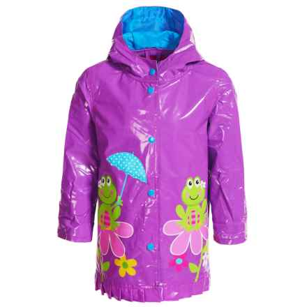Wippette Frog on Flower Hooded Raincoat (For Toddler Girls) in Purple Flower - Closeouts