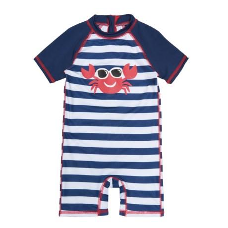 Wippette Lobster Swimsuit - UPF 50, Short Sleeve (For Infant Boys) in Navy