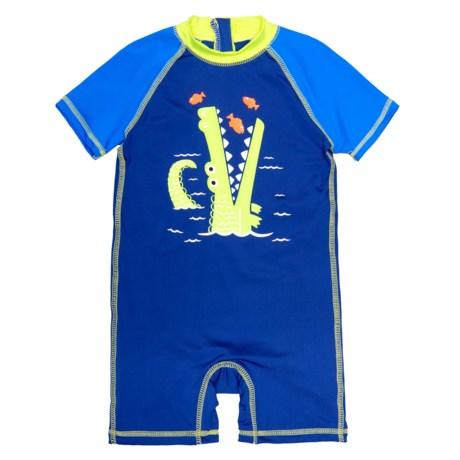 Wippette Shark Swimsuit - UPF 50, Short Sleeve (For Infant Boys) in Royal Blue