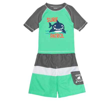 Wippette Surf Patrol Shark Rash Guard and Swim Trunks Set - UPF 50, Short Sleeve (For Toddler Boys) in Charcoal - Closeouts