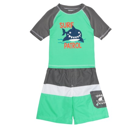Wippette Surf Patrol Shark Rash Guard and Swim Trunks Set - UPF 50, Short Sleeve (For Toddler Boys) in Charcoal