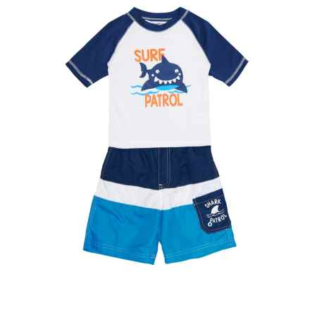 Wippette Surf Patrol Shark Rash Guard and Swim Trunks Set - UPF 50, Short Sleeve (For Toddler Boys) in Navy - Closeouts