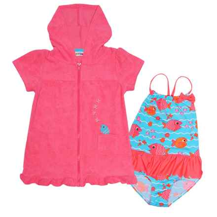 Wippette Swimsuit and Cover-Up - Short Sleeve (For Toddler Girls) in Diva Pink - Closeouts