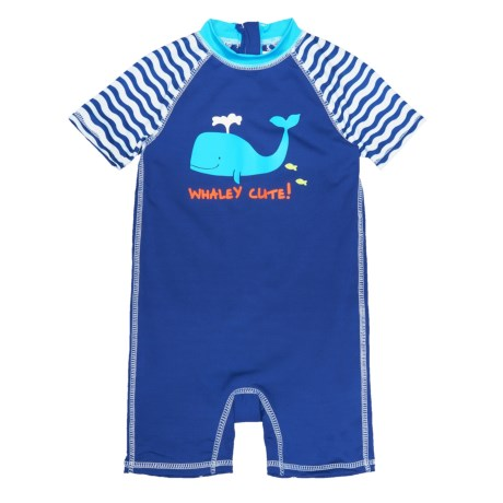 Wippette Whale Swimsuit - UPF 50, Short Sleeve (For Infant Boys) in Royal Blue