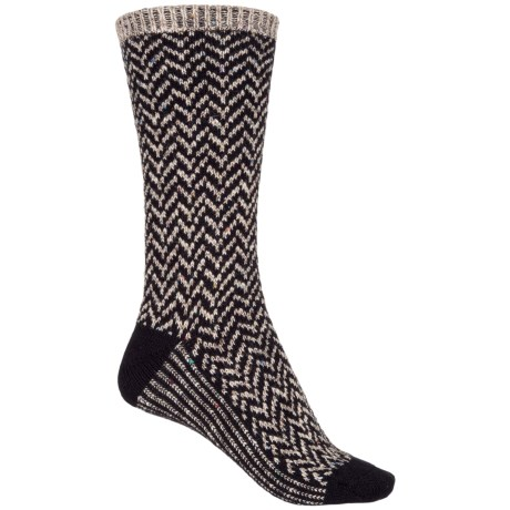 Wise Blend Chevron Socks - Crew (For Women) in Black