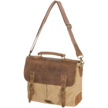 Wisecracker Jr. Messenger Tablet Bag - Canvas-Leather in Tan - Closeouts
