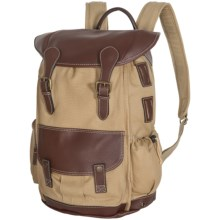 Wisecracker Royal Army Canvas-Leather Rucksack in Khaki/Chocolate Brown - Closeouts
