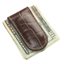 Wisecracker The Junior Money Clip - Leather in Italian Moc Croc - Closeouts