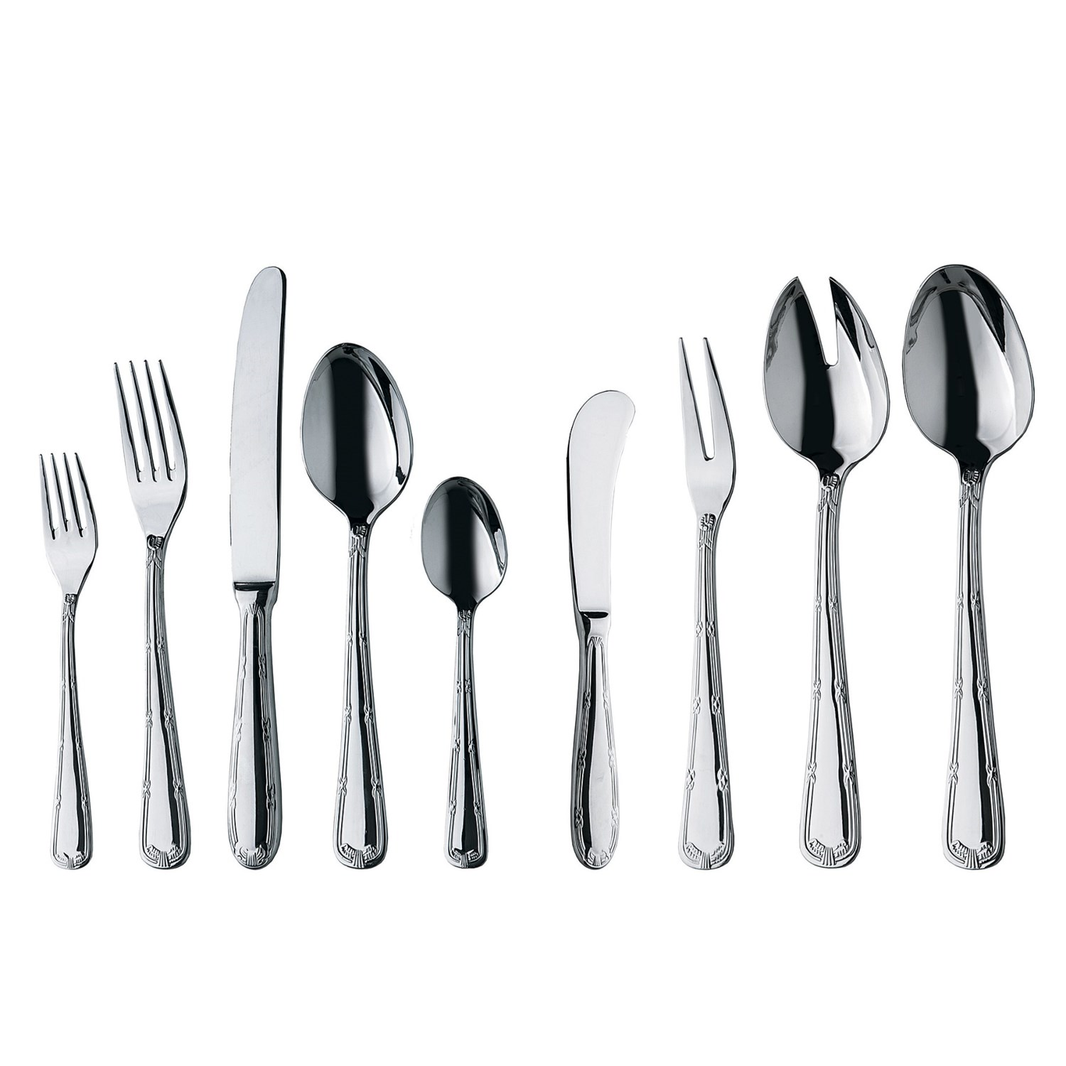 wmf crossband flatware set cromargan 18 10 stainless steel 44 piece in stainless. Black Bedroom Furniture Sets. Home Design Ideas