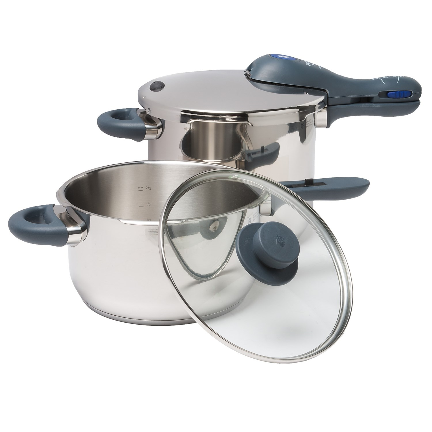 "18/10 stainless steel construction 4.5 qt. pan: 6.5 qt. pan: Care: Hand wash Cooking indicator uses colored rings to indicate cooking level Diameter: 9"" Diameter: 9"" Height: 5"" Height: 7-1/2"" Made in Germany Material: Stainless steel, composite, glass Overstock. Let WMF's Perfect Plus pressure cooker set introduce you to the convenience of cooking vegetables, meats and more in about 1/3 of their normal time! Safe, easy to use, and made of durable stainless steel. Safety valve for easily releasing pressure away from user Set includes 6.5 qt. pressure cooker base with lid, 4.5 qt. pressure cooker base, sealing ring and glass lid TransTherm base evenly distributes heat Weight: 12 lb."