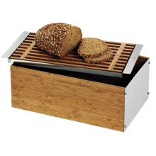 WMF Stainless Steel and Bamboo Bread Bin in Stainless Steel/Bamboo - Closeouts