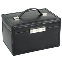 WOLF Queen's Court Collection Jewelry Box - Medium, Saffiano Leather in Black - Closeouts