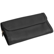 WOLF Queen's Court Collection Jewelry Roll - Saffiano Leather in Black - Closeouts