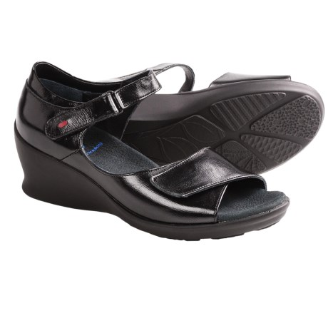 Wolky Ardor Wedge Sandals (For Women) in Black Patent
