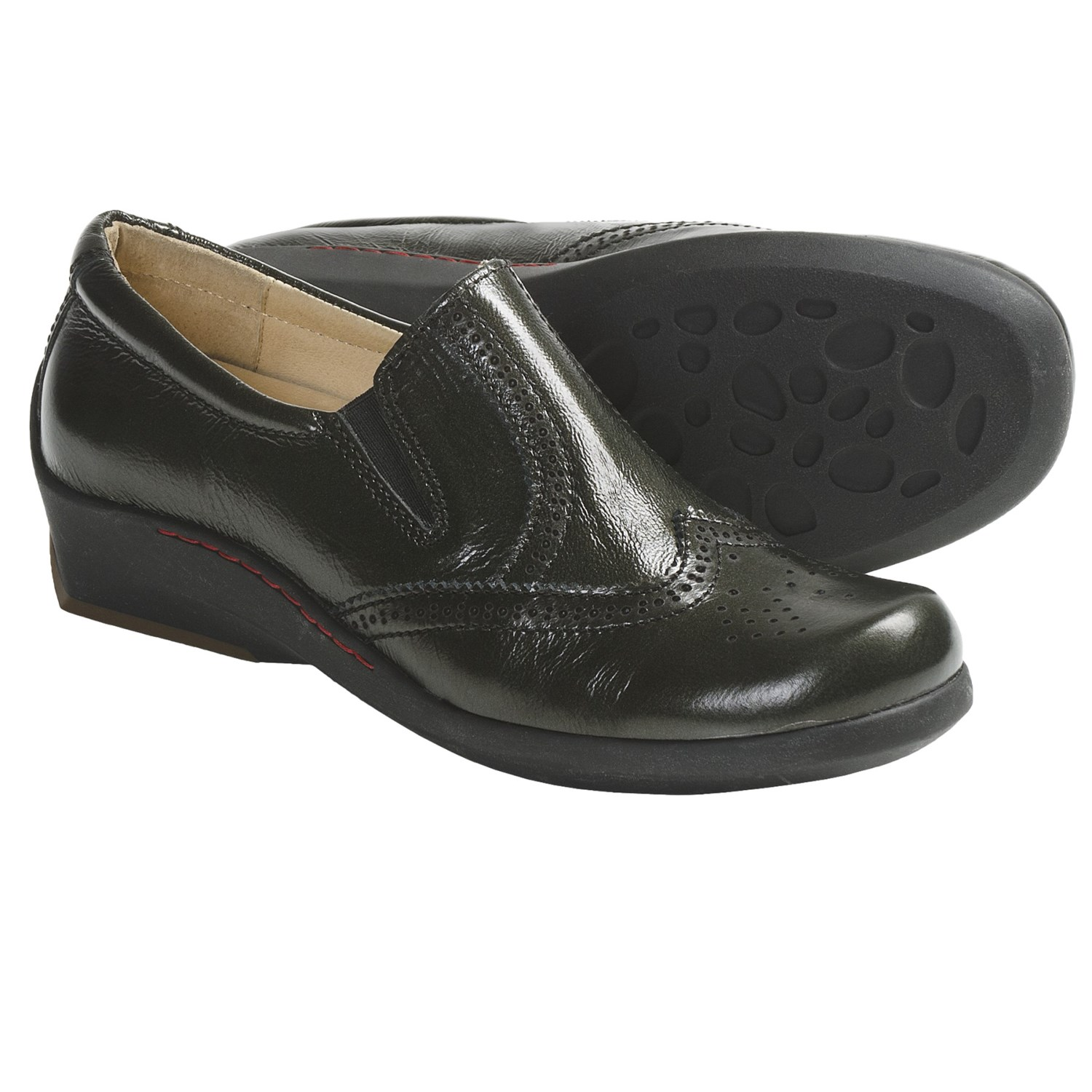 Wolky Berlin Shoes - Leather, Slip-Ons (For Women) in Asphalt Wrinkled