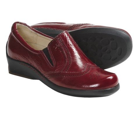Wolky Berlin Shoes - Leather, Slip-Ons (For Women) in Red Wrinkled