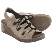 Wolky Fogo Wedge Sandals - Leather (For Women) in Beige Caviar - Closeouts