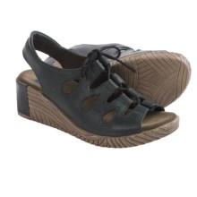 Wolky Fogo Wedge Sandals - Leather (For Women) in Black Brushed - Closeouts