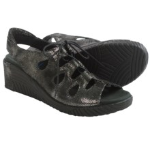 Wolky Fogo Wedge Sandals - Leather (For Women) in Black Caviar - Closeouts