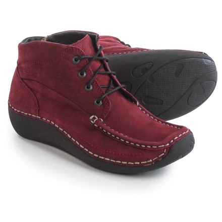 Wolky Gina Ankle Boots - Nubuck (For Women) in Oxblood W/Contrast Stitch - Closeouts