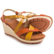 Wolky Invidia Wedge Sandals - Leather (For Women) in Orange - Closeouts