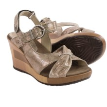 Wolky Ixia Platform Wedge Sandals - Leather (For Women) in Beige Caviar - Closeouts