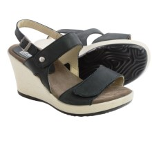 Wolky Rose Wedge Sandals - Leather (For Women) in Black - Closeouts