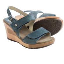Wolky Rose Wedge Sandals - Leather (For Women) in Denim Blue - Closeouts